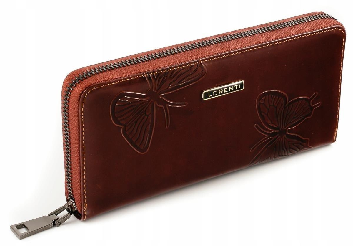 Skórzany damski portfel piórnik motyle